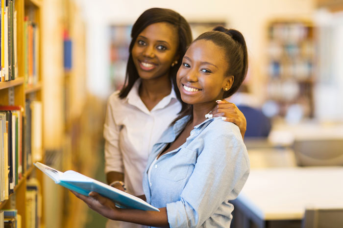 Female students in the library