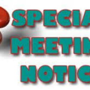 Special Called Meetings – Tuesday, September 11, 2018